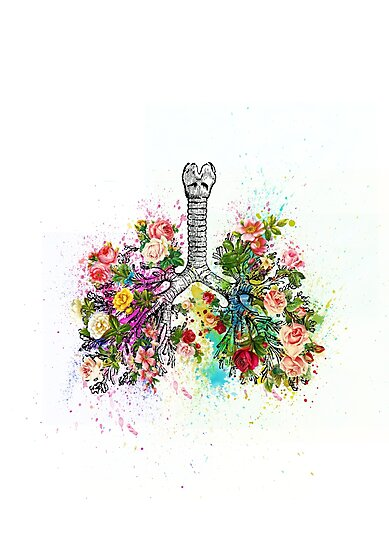 Flowers Ribs Skeleton Watercolor by Khaled Ibrahim