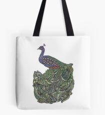 Multicoloured Zentangle Art Peacock Tote Bag