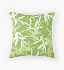 Green Bamboo Leaves Unique Pattern Throw Pillow
