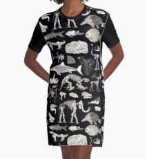 Paleontology Illustration Graphic T-Shirt Dress