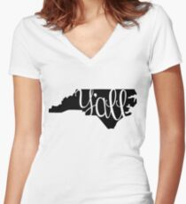 North Carolina Y'all Women's Fitted V-Neck T-Shirt