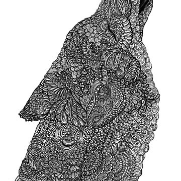 Black and White Zentangle Howling Wolf by TemplemanArt