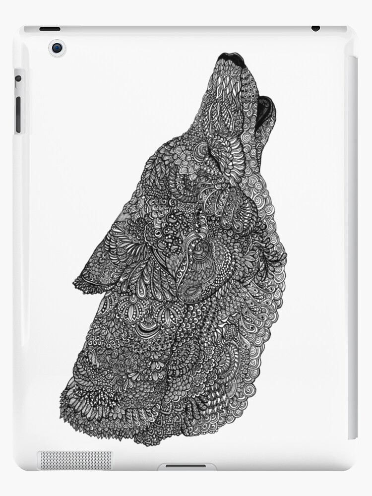 82cc94081 Black and White Zentangle Howling Wolf