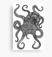 Zentangle Art Black and White Octopus Canvas Print