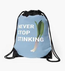 Never Stop Stinking | Wild Leek Ramps Design Drawstring Bag