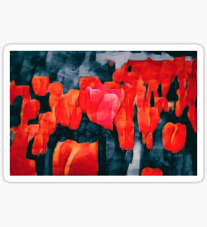 Tulip Field at Night Sticker