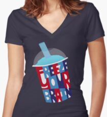 Freeze Your Brain Women's Fitted V-Neck T-Shirt