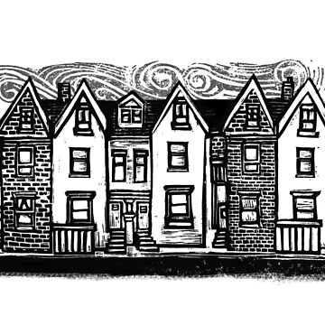 Row Houses Linocut by opifan