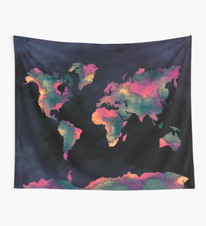 world map 74 Wall Tapestry