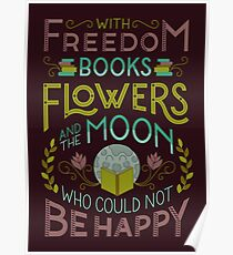 Flowers and the Moon Poster