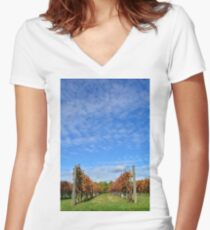 Autumnal Grape Vines Women's Fitted V-Neck T-Shirt