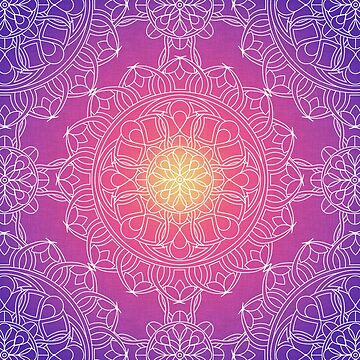 White Lace Mandala in Purple, Pink, and Yellow by kellydietrich