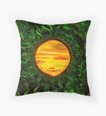 Sunset over a corn field Throw Pillow