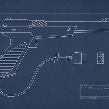 Blueprint of a Zapper light gun by GlewPrint