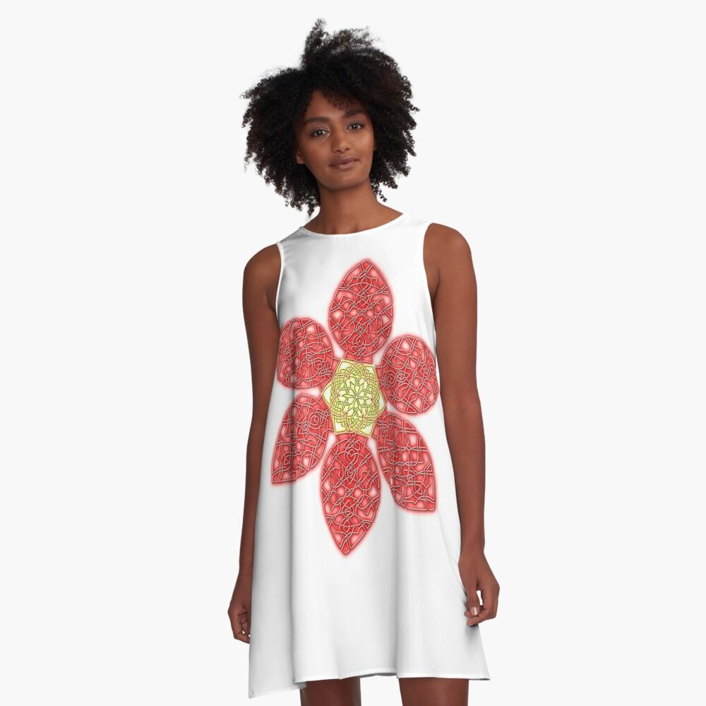 Red Celtic Knot Flower A-Line Dress Front