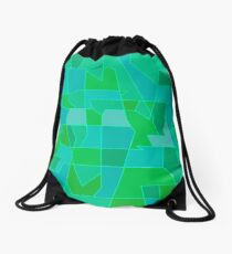 Cyber Field Geometric Abstraction Drawstring Bag