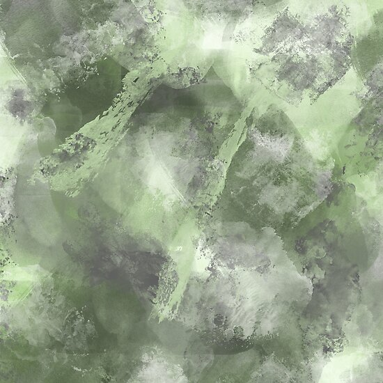 Stormy Abstract Design in Green by MelFischer