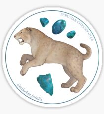 Smilodon fatalis with chrysocolla Sticker