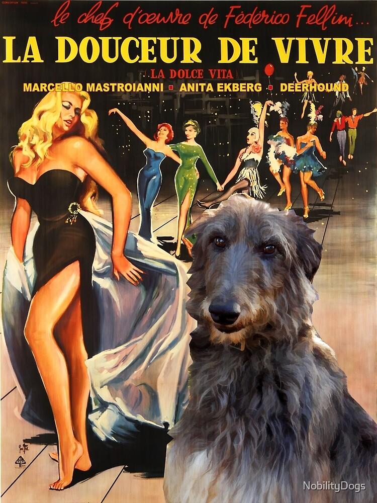 Scottish Deerhound Art - La Dolce Vita Movie Poster by NobilityDogs