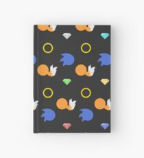 Sonic and Tails chaos emeralds (black) Hardcover Journal