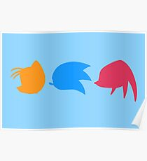 Sonic, Knuckles and Tails (blue) Poster
