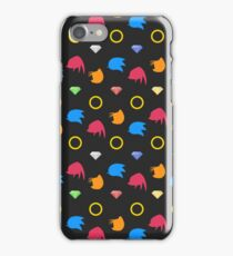 Sonic, Knuckles and Tails with Chaos Emeralds (black) iPhone Case/Skin