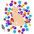 The Tale of the Orange Cat and a Mouse Against Flowers by melasdesign