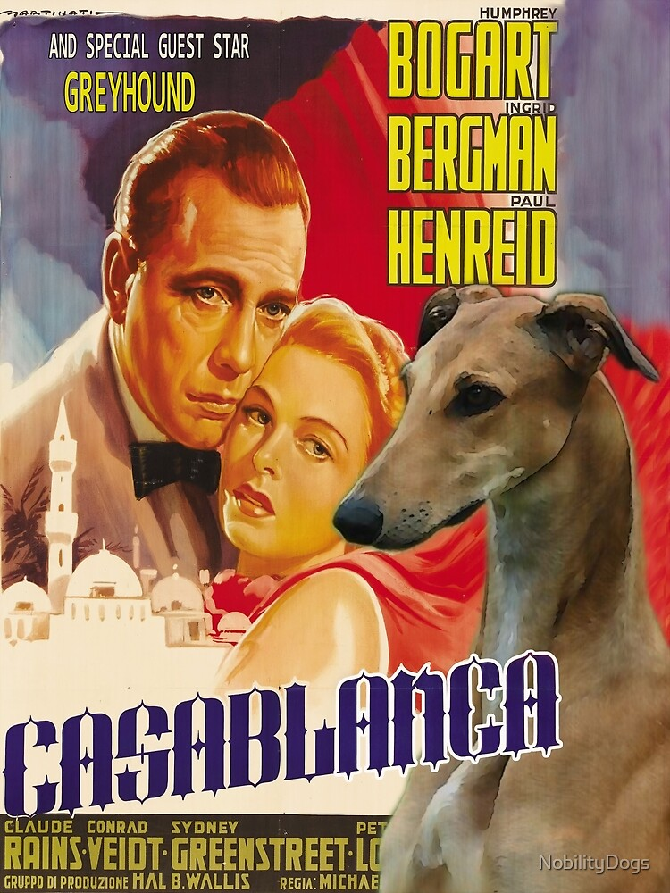 Greyhound Art - Casablanca Movie Poster by NobilityDogs