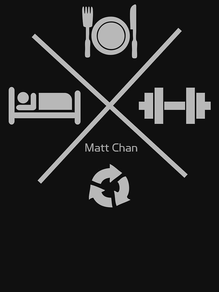 Eat, Lift, Sleep, Repeat - Icons Cross X by mchanfitness