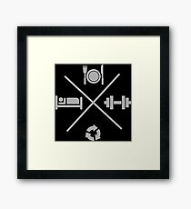 Eat, Lift, Sleep, Repeat - Icons Cross X Framed Print