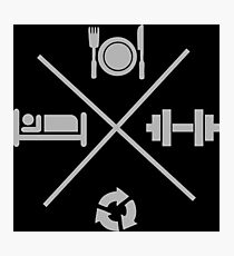 Eat, Lift, Sleep, Repeat - Icons Cross X Photographic Print