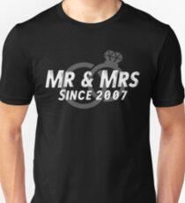 Mr & Mrs Since 2007 - 10th Wedding Anniversary Gift Ideas Unisex T-Shirt
