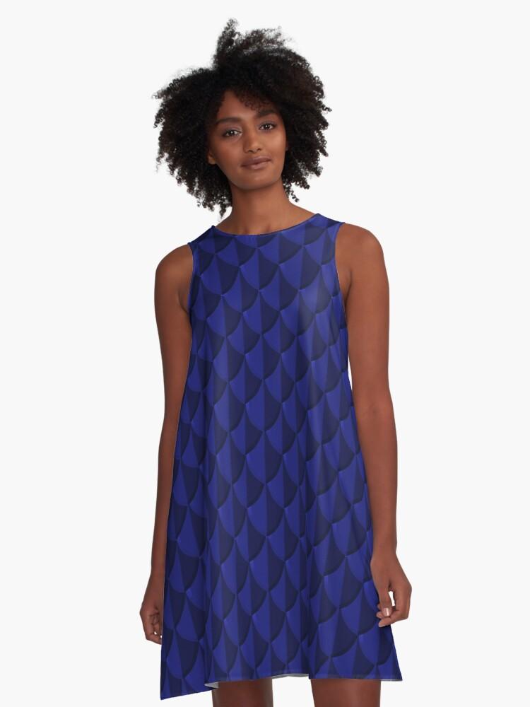 Blue Dragon Scales A-Line Dress Front