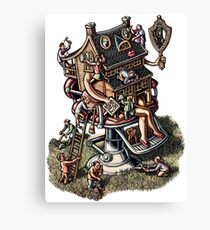 House in barbershop chair getting beauty treatment Canvas Print