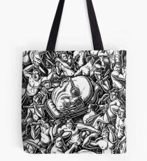 The Giant Head of Philosopher Michel Foucault amidst a scene of Whipping and Flagellation Tote Bag