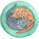 Lazy Cats - Watercolor by skidgelstudios