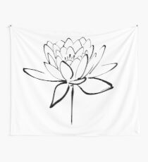 Lotus Flower Calligraphy (Black) Wall Tapestry