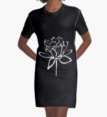 Lotus Flower Calligraphy (White) Graphic T-Shirt Dress