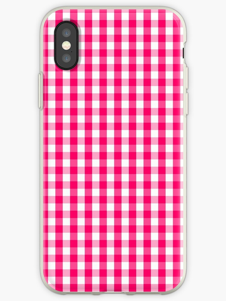 Hot Neon Pink and White Gingham Check by podartist