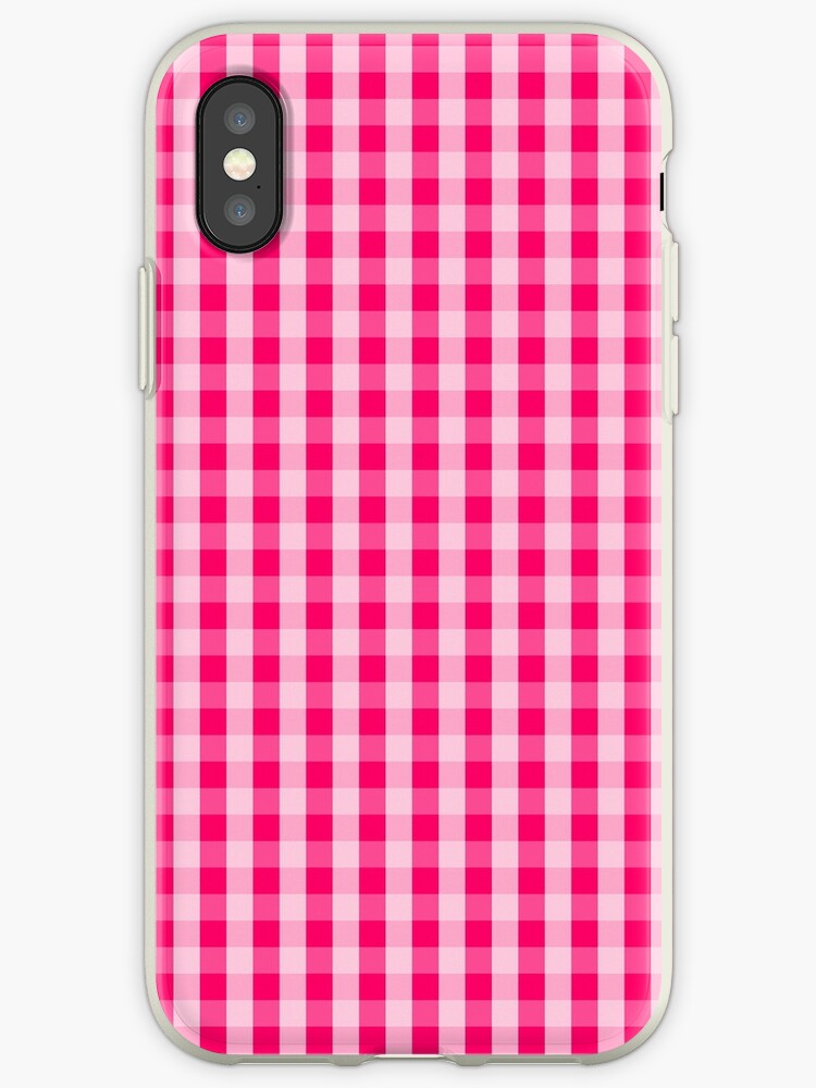 Hot Neon Pink Gingham Check Squares by podartist