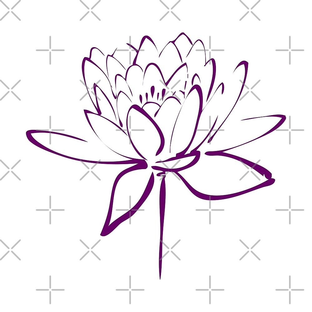 Lotus Flower Calligraphy (Purple) by Makanahele