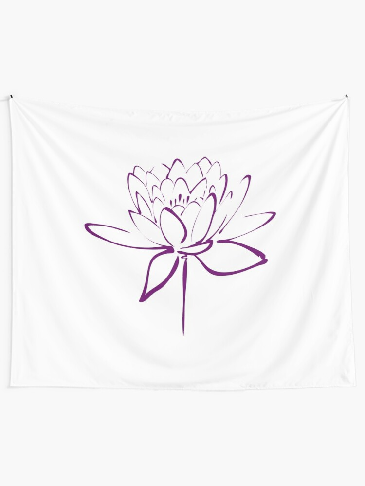 Lotus Flower Calligraphy Purple Wall Tapestry By Makanahele