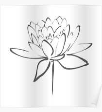 Lotus Flower Calligraphy (Smoke Grey) Poster