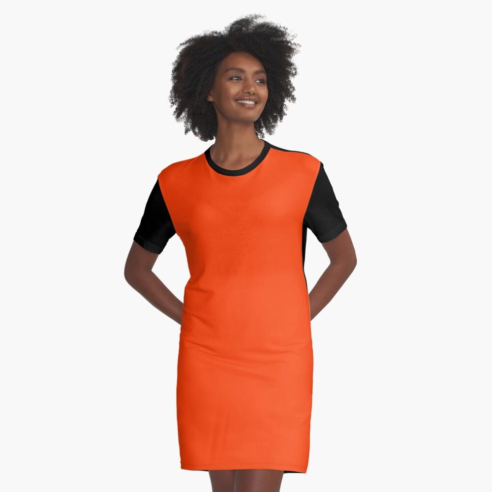 Bright Fluorescent Attack Orange Neon Graphic T-Shirt Dress