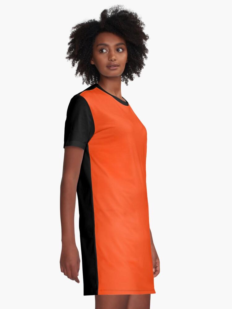 Alternate view of Bright Fluorescent Attack Orange Neon Graphic T-Shirt Dress