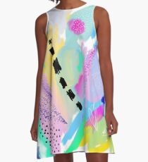 Abstract Painting in Pastel Colors A-Line Dress