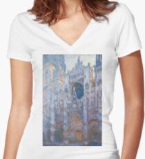 Claude Monet - Rouen Cathedral, West Façade - 1894 Women's Fitted V-Neck T-Shirt