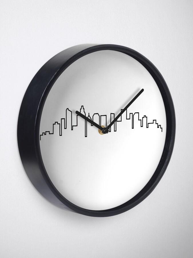 Alternate view of Charlotte, North Carolina City Skyline Clock