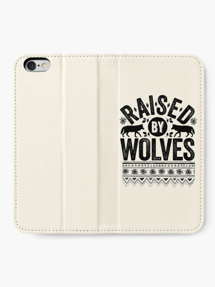 Alternate view of Raised By Wolves {Black + White} iPhone Wallet