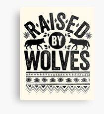 Raised By Wolves {Black + White} Metal Print